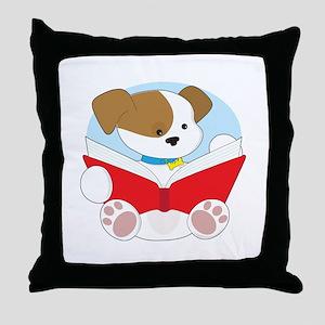 Cute Puppy Reading Throw Pillow