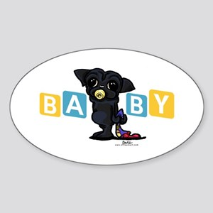 Boy baby PUG black Sticker (Oval)