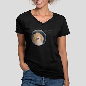 Pom Mom Women's V-Neck Dark T-Shirt