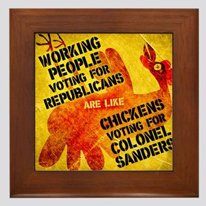 Chickens Voting for Col. Sand Framed Tile