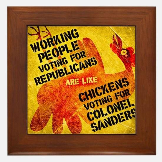 Chickens Voting for Col. Sand Framed Tile