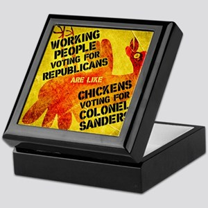 Chickens Voting for Col. Sand Keepsake Box