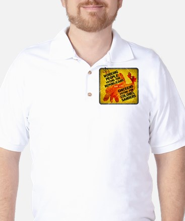 Chickens Voting for Col. Sand Golf Shirt