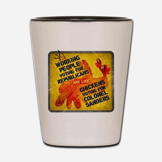Chickens Voting for Col. Sand Shot Glass