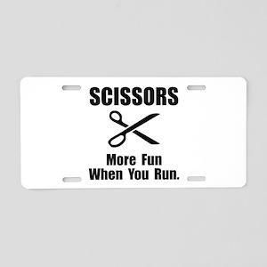 Scissors Fun Aluminum License Plate