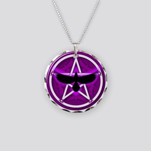 Crow Pentacle - Purple Necklace Circle Charm
