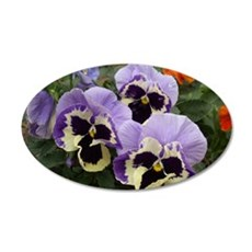 """Happy Pansy Trio"" 22x14 Oval Wall Peel"