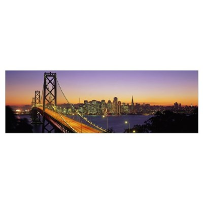 California, San Francisco, Bay Bridge, night Poster