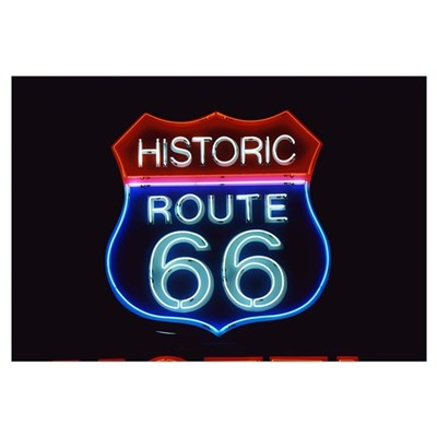 Neon Route 66 Sign Canvas Art