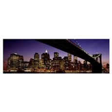 Night Brooklyn Bridge Skyline New York City NY Poster