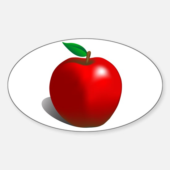 Red Apple Fruit Sticker (Oval)