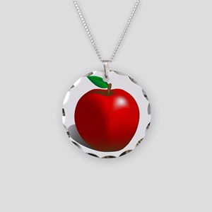 Red Apple Fruit Necklace Circle Charm