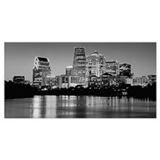 Texas, Austin, Panoramic view of a city skyline (B Poster