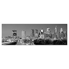 US, Pennsylvania, Philadelphia skyline, night Poster