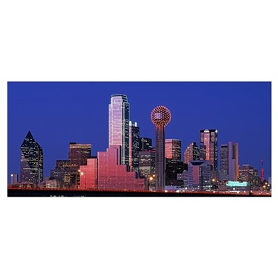 Texas, Dallas, Panoramic view of an urban skyline Poster