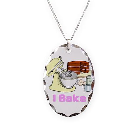 I Bake Necklace Oval Charm