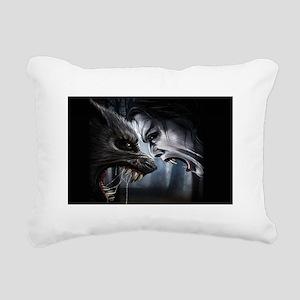 VAMPIRE VERSUS WEREWOLF Rectangular Canvas Pillow