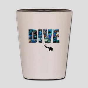 dive in pics copy Shot Glass