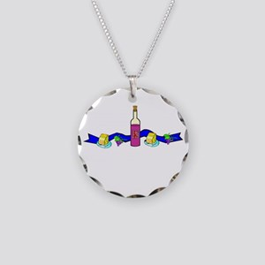 Wine and Cheese Necklace Circle Charm