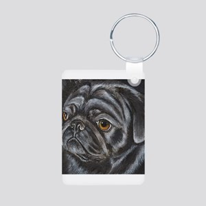 Black Pug Aluminum Photo Keychain