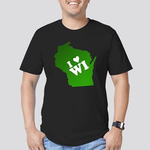 I heart Wisconsin Men's Fitted T-Shirt (dark)