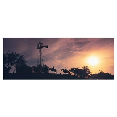 Sunset Cowboys Texas Poster