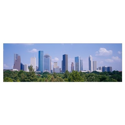 Buildings in a city, Houston, Texas Poster