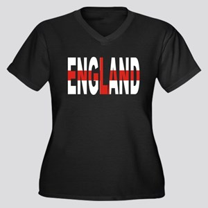 England Supporter Women's Plus Size V-Neck Dark T-