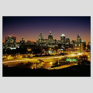 Buildings lit up at night, Philadelphia, Pennsylva