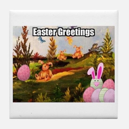 Easter Greetings Tile Coaster