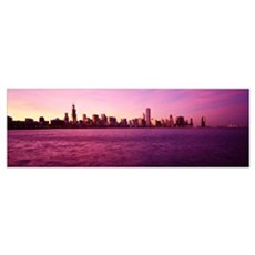 Sundown Skyline Chicago IL Poster