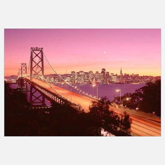 California, San Francisco, Bay Bridge at dusk