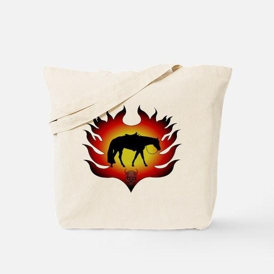 Flamin Western Horse Tote Bag