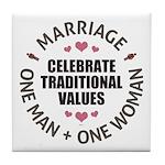 Celebrate Traditional Values Tile Coaster