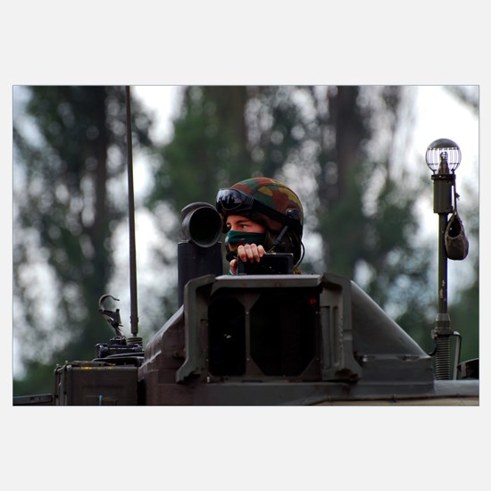 Tank commander of a Leopard 1A5 MBT of the Belgian