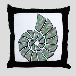 Blue-Green Nautilus Shell Throw Pillow
