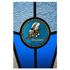A single Seabee logo built into a stainedglass win Poster