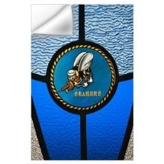 A single Seabee logo built into a stainedglass win Wall Decal