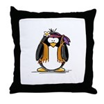 Hippie penguin Throw Pillow