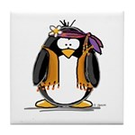 Hippie penguin Tile Coaster