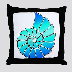 Aqua Nautilus Shell Throw Pillow