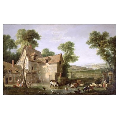 The Farm, 1750 (oil on canvas) Poster