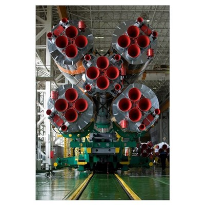 The boosters of the Soyuz TMA14 spacecraft Framed Print