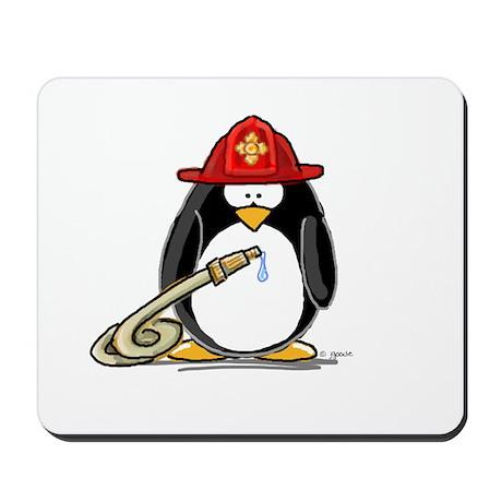 Fireman penguin Mousepad