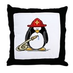 Fireman penguin Throw Pillow