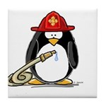 Fireman penguin Tile Coaster