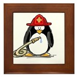 Fireman penguin Framed Tile
