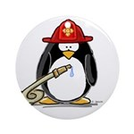 Fireman penguin Ornament (Round)