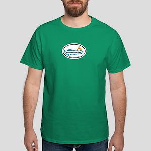 """Wellfleet MA """"Oval"""" Design. Dark T-Shirt"""