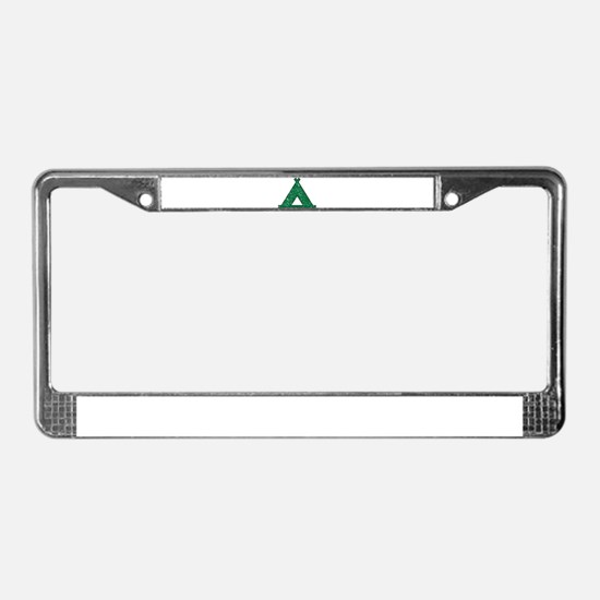Vintage Camping Style License Plate Frame